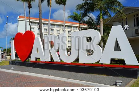 I Love Aruba landmark sign