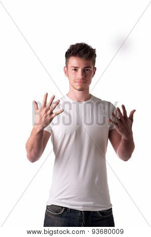 Handsome young man counting to ten 10 with fingers and hands