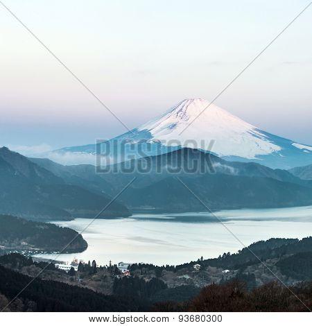 Panorama Mountain Fuji in winter sunrise at Hakone Lake