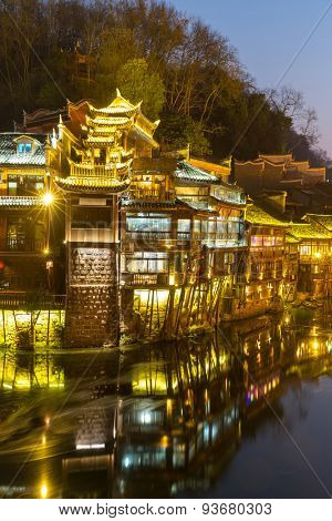 Fenghuang (Phoenix) ancient town sunset duak, Hunan province, China