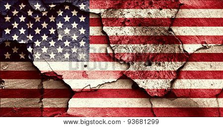 Flag Of Usa Painted On Cracked Wall