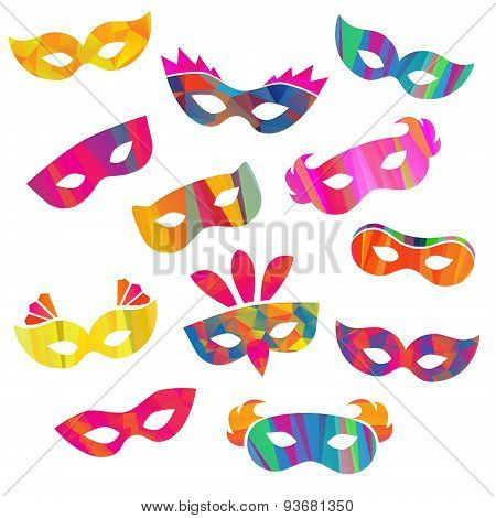 Set of carnival masks different forms