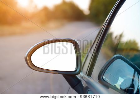 Rear View Mirror With Isolated Background