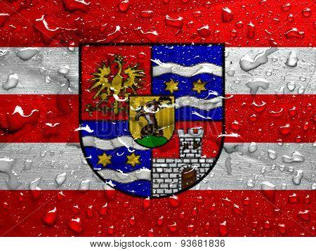 flag of Varazdin County with rain drops