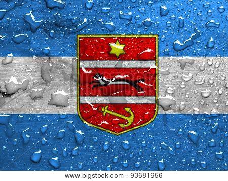 flag of Virovitica-Podravina County with rain drops
