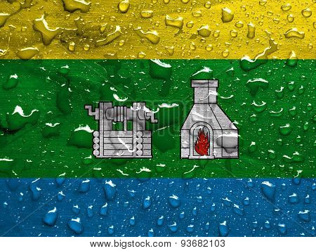 flag of Yekaterinburg with rain drops