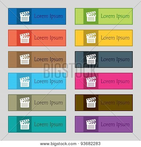 Cinema Clapper Icon Sign. Set Of Twelve Rectangular, Colorful, Beautiful, High-quality Buttons For T