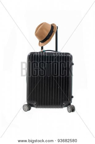 Woman hat,with luggage isolated on white background