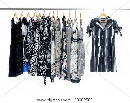 Variety of female clothing on hanging