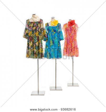 Full length three female clothing on mannequin