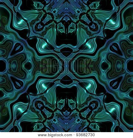 Abstract Green-blue Metallic Viking Or Celtic Like Pattern With Skulls Made Seamless