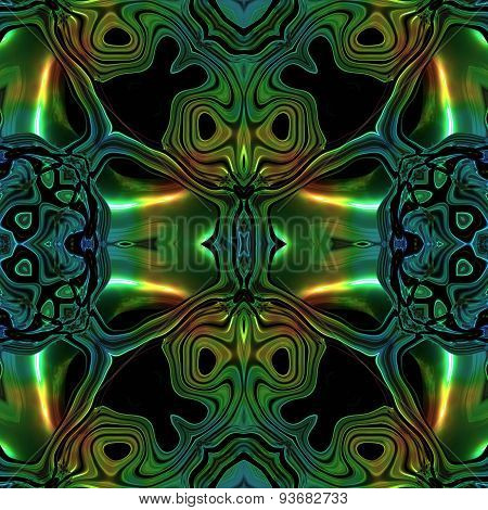 Abstract Metallic Blue-green Viking Or Celtic Like Pattern Made Seamless