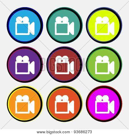 Camcorder Icon Sign. Nine Multi Colored Round Buttons. Vector