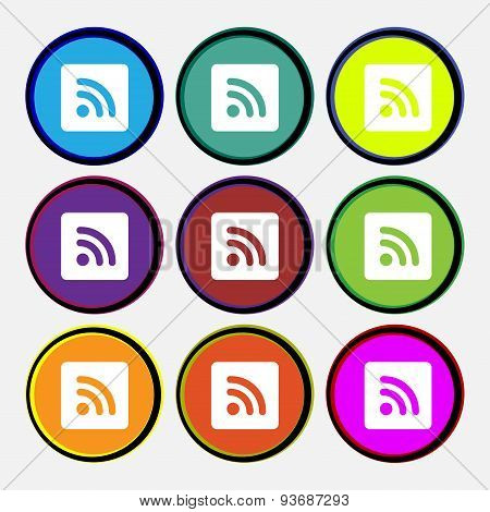 Rss Feed  Icon Sign. Nine Multi Colored Round Buttons. Vector