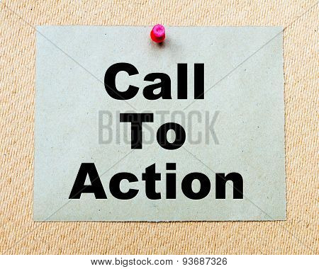 Call To Action Written On Paper Note