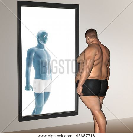 Concept or conceptual 3D fat overweight vs slim fit with muscles young man on diet reflecting in a mirror