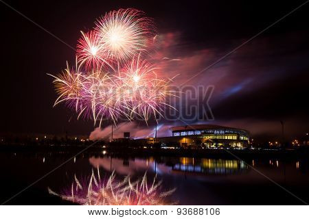 Firework Over Stadium In Nighttime