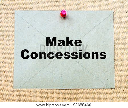 Make Concessions  Written On Paper Note