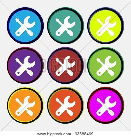 Screwdriver, Key, Settings Icon Sign. Nine Multi Colored Round Buttons. Vector