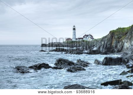 Portland Head Light Lighthouse On Rugged Maine Coast