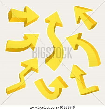 3D Yellow Arrows Set