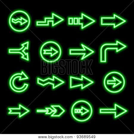 Modern Fluorescent Green Arrows Set