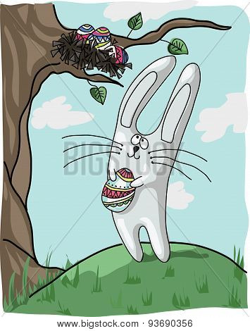 Bunny With Easter Egg. Vector.cdr