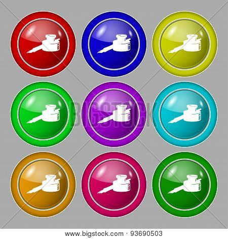 Pen And Ink Icon Sign. Symbol On Nine Round Colourful Buttons. Vector