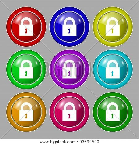 Closed Lock Icon Sign. Symbol On Nine Round Colourful Buttons. Vector