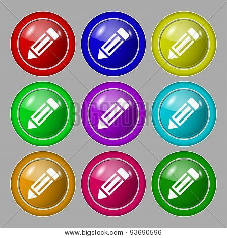 Pencil Icon Sign. Symbol On Nine Round Colourful Buttons. Vector