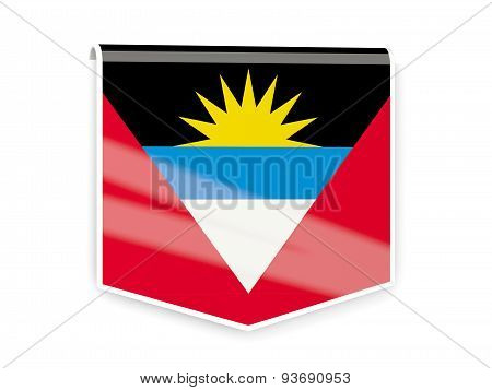 Flag Label Of Antigua And Barbuda