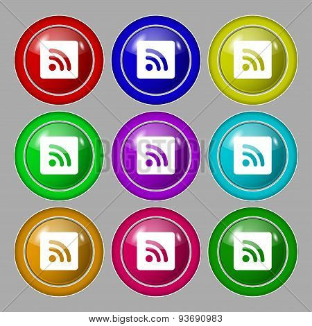 Rss Feed  Icon Sign. Symbol On Nine Round Colourful Buttons. Vector