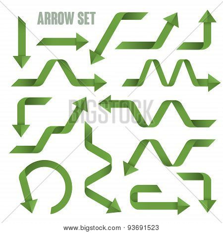 Useful Green Arrows Set Collection