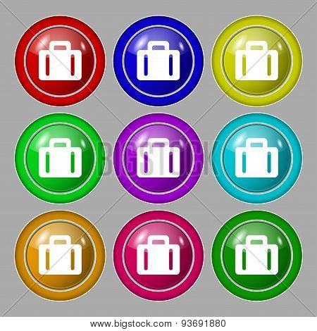 Suitcase Icon Sign. Symbol On Nine Round Colourful Buttons. Vector