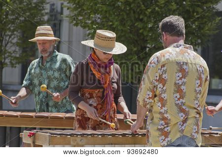 Aseville Street Musicians Play Marimbas