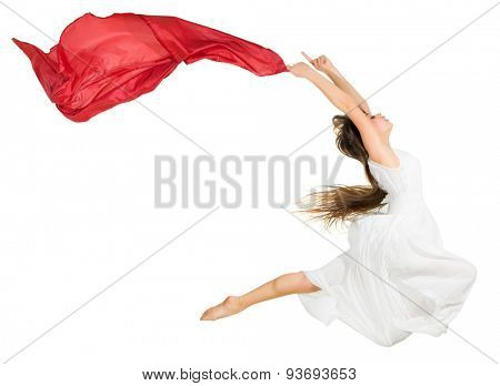 Young girl modern dancer isolated