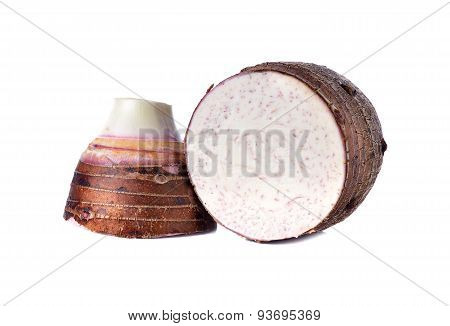 Sliced Fresh Taro On White Background