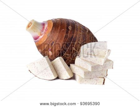 Whole And Sliced Fresh Taro On White Background