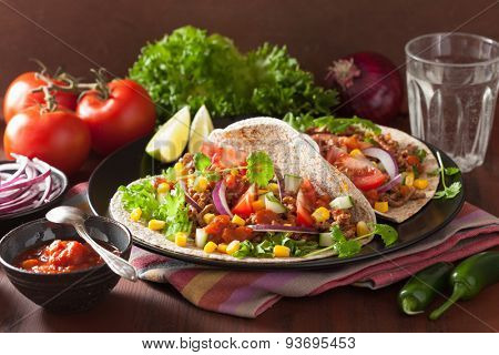 mexican tacos with beef tomato salsa onion corn