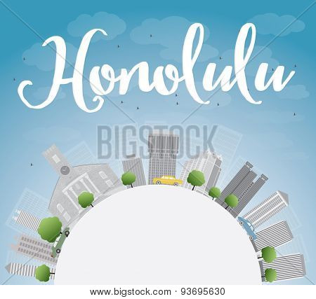 Honolulu Hawaii skyline with grey buildings, blue sky and copy space. Vector illustration