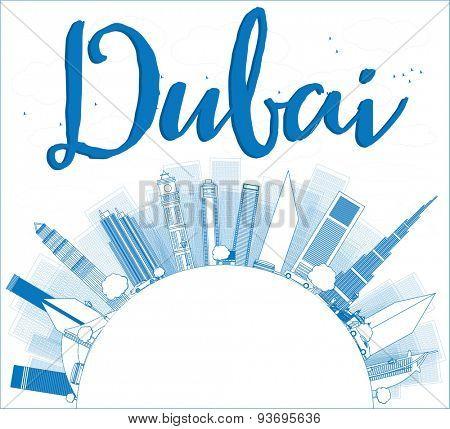 Outline Dubai City skyline with blue skyscrapers and copy space. Vector illustration