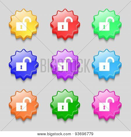Open Lock Icon Sign. Symbol On Nine Wavy Colourful Buttons. Vector