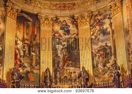 Altar Frescos San Francisco El Grande Royal Basilica Madrid Spain
