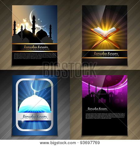 vector attractive set of brochure of ramadan kareem festival illustration with flyer and template design