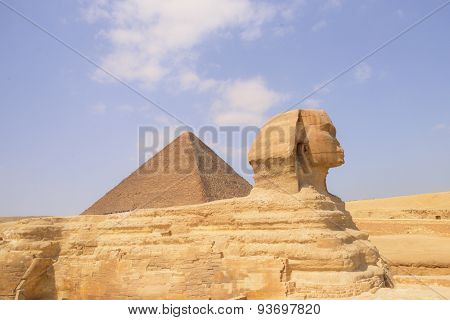 Sphinx and Pyramid in Giza - Cairo, Egypt