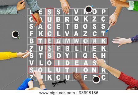 Success Crossword Puzzle Words Achievment Game Concept