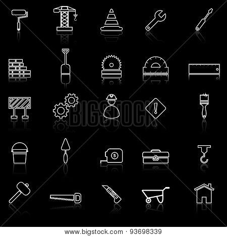 Construction Line Icons With Reflect On Black