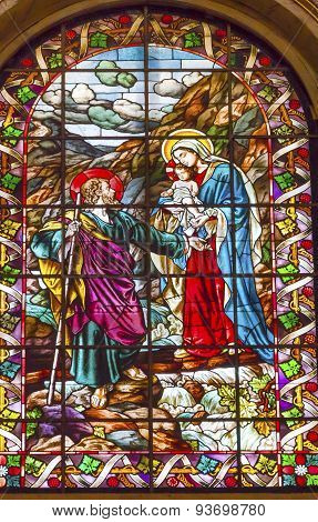 Mary Joseph Baby Jesus Stained Glass San Francisco El Grande Royal Basilica Madrid Spain