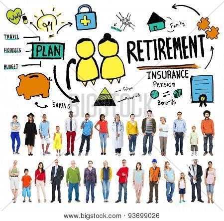 Retirement Insurance Pension Saving Plan Benefits Travel Concept
