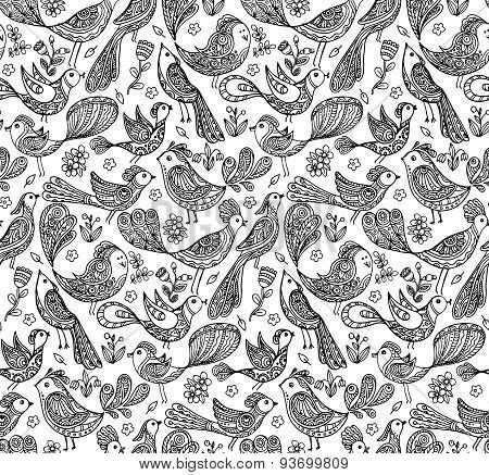 Seamless Vector Pattern With Cute Birds